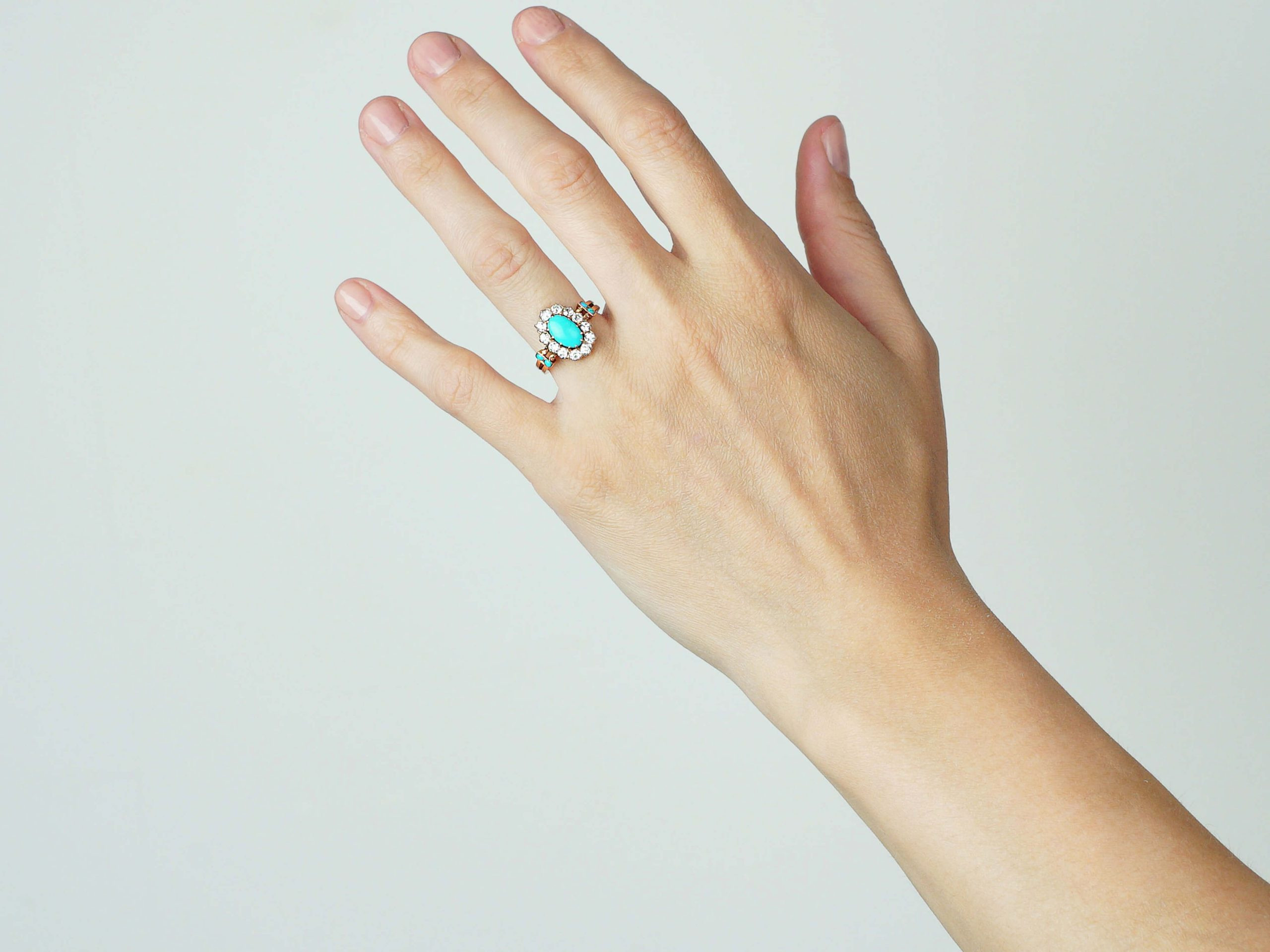 Edwardian 18ct Gold, Turquoise & Diamond Oval Cluster Ring with Turquoise Set Shoulders