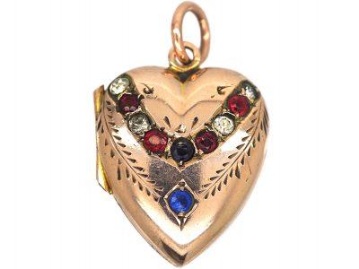 Edwardian 9ct Gold Back & Front Heart Shaped Locket set with Paste