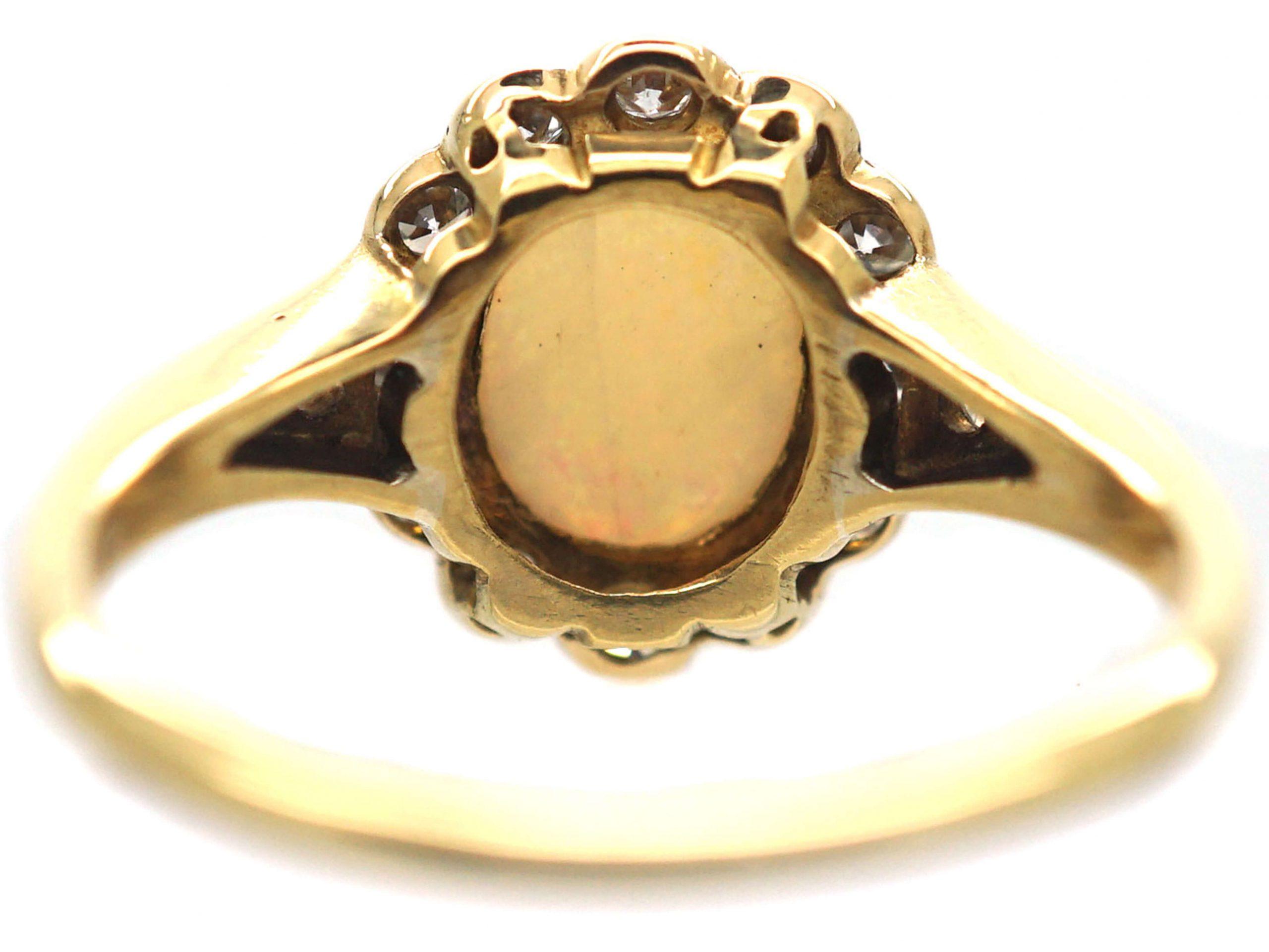Edwardian 18ct Gold & Platinum, Opal & Diamond Cluster Ring with Diamond Set Shoulders