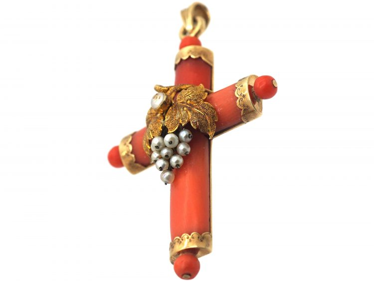 Regency 15ct Gold, Coral & Natural Pearl Cross with Grapes Motif