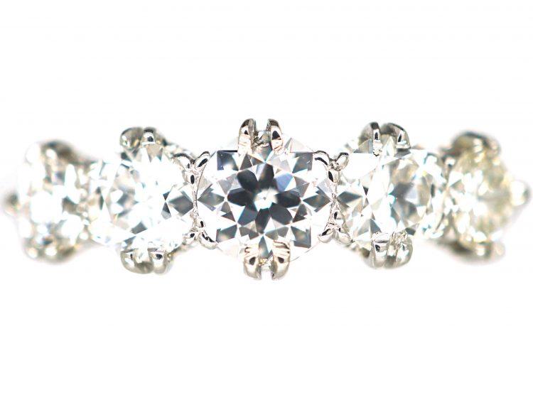 Art Deco Platinum Five Stone Diamond Ring