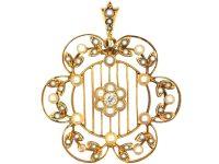 Edwardian 15ct Gold, Natural Split Pearl & Diamond Floral Pendant