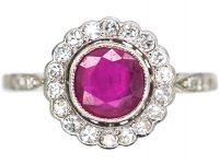 Art Deco Platinum & 18ct Gold, Ruby & Diamond Cluster Ring