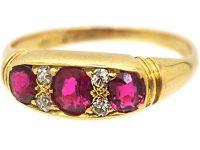 Edwardian 18ct Gold, Ruby & Diamond Three Stone Ring by Deakin & Frances