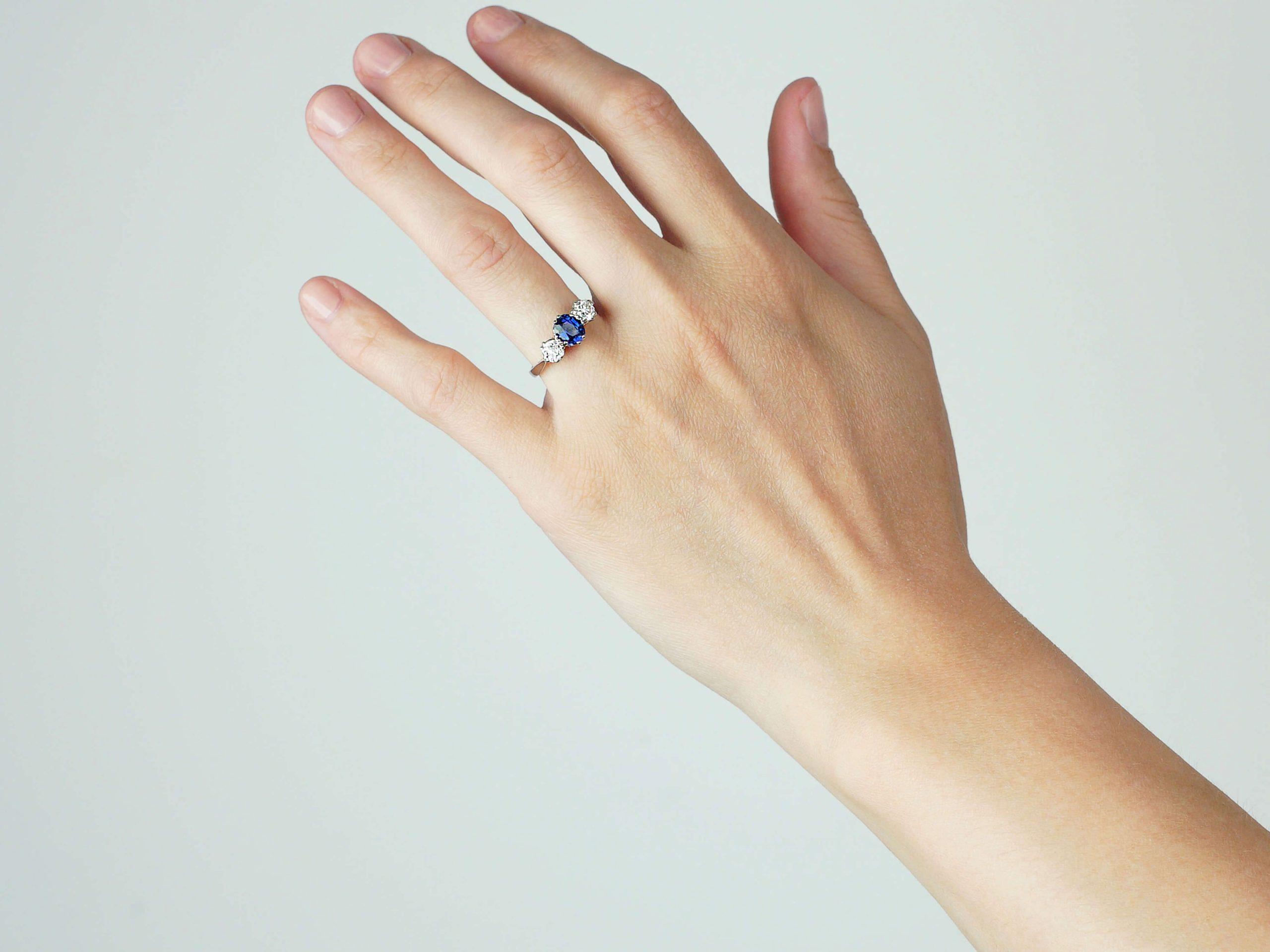 Art Deco 18ct White Gold, Sapphire & Diamond Three Stone Ring