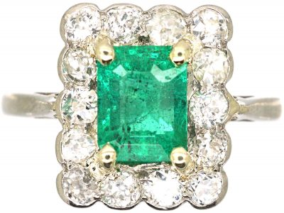 Platinum, Emerald & Diamond Rectangular Cluster Ring