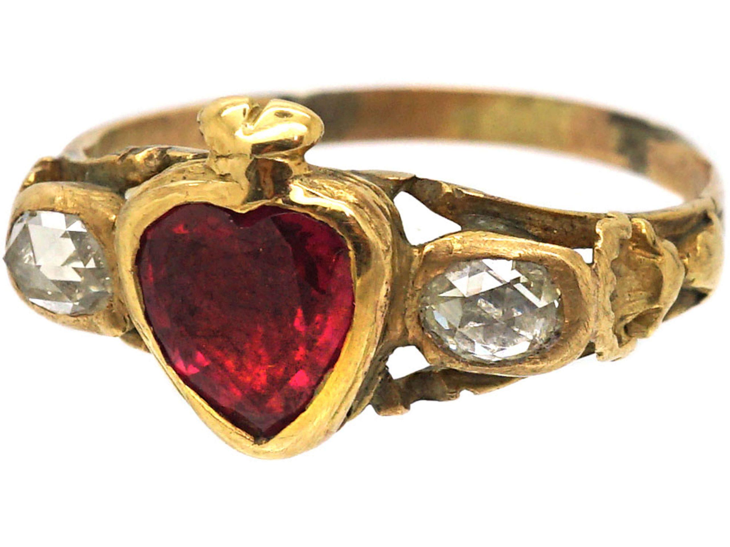 Georgian 18ct Gold, Ruby & Rose Diamond Heart Ring