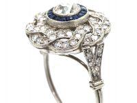 Large Art Deco Platinum, Sapphire & Diamond Target & Coil Ring