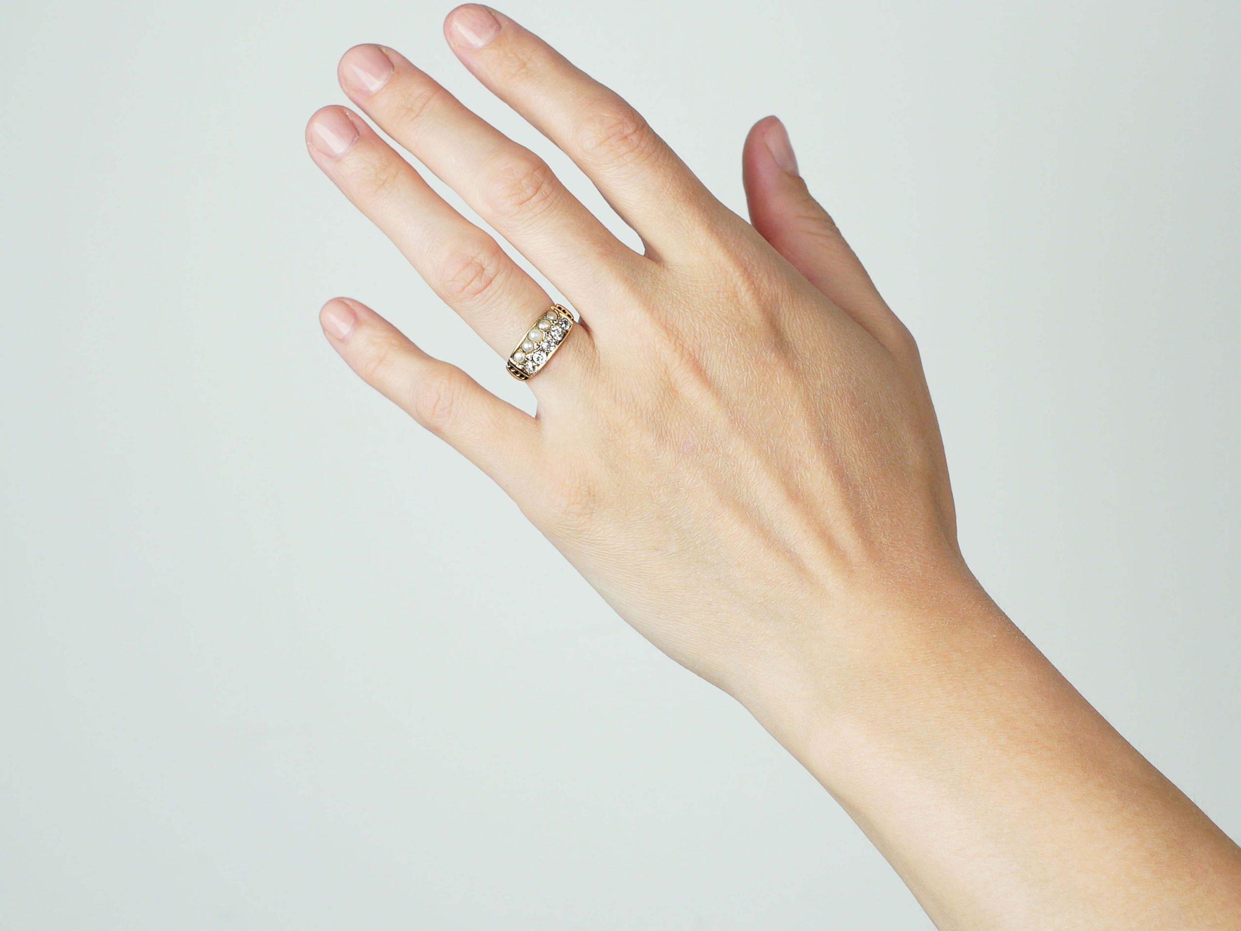 Victorian 18ct Gold Pearl & Diamond Ring