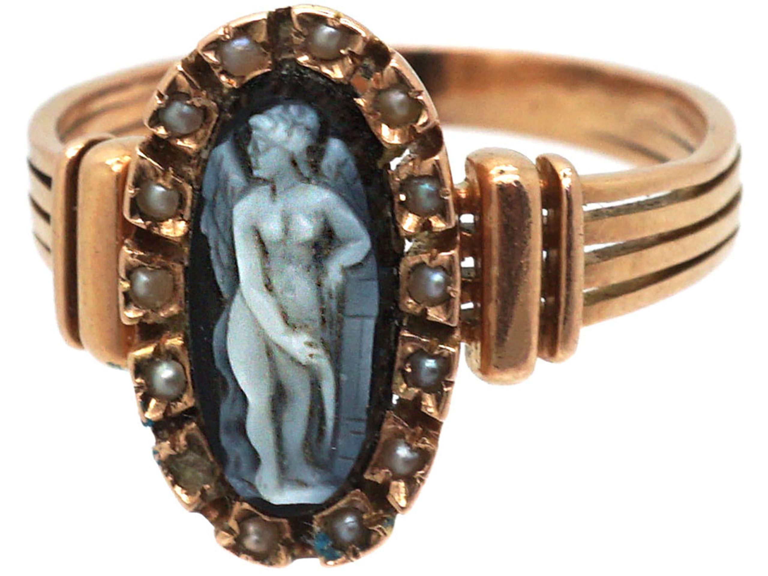 Victorian 14ct Gold Ring with Carved Sardonyx Angel in a Natural Split Pearl Surround