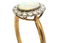 Edwardian 18ct Gold & Platinum, Opal & Diamond Oval Cluster Ring