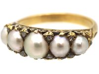 Victorian 18ct Gold, Carved Half Hoop Ring set with Natural Pearls with Diamond Points