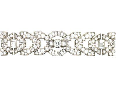 Art Deco Platinum & Diamond Geometric Bracelet