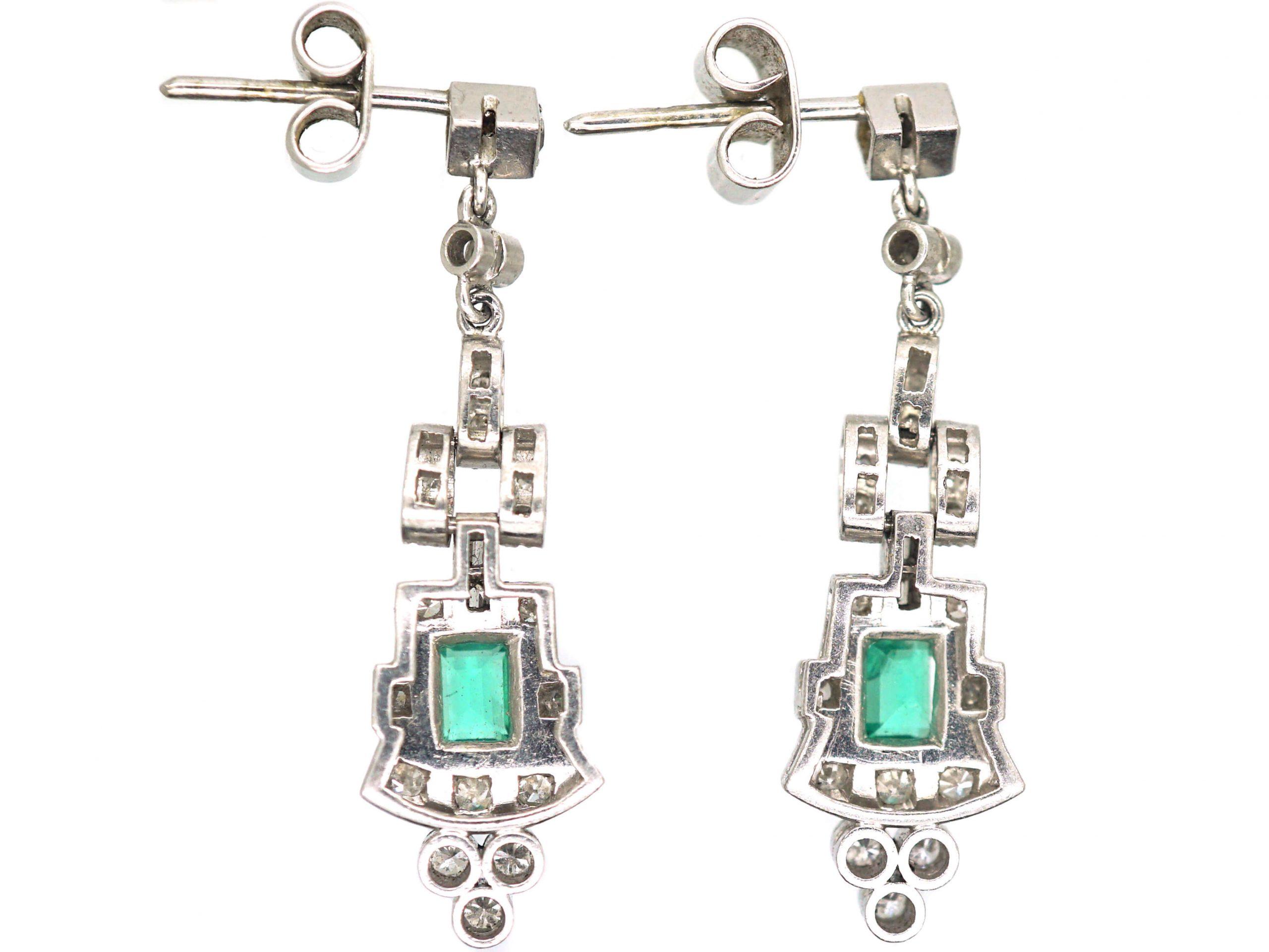Art Deco 18ct Gold, Emerald & Diamond Drop Earrings