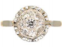 Art Deco 18ct Gold & Platinum, Diamond Cluster Ring with Piecrust Surround