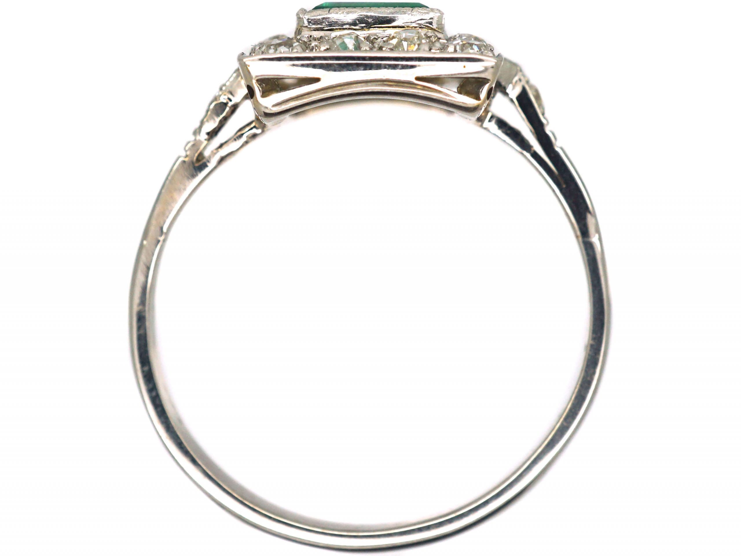 Art Deco Platinum & 18ct White Gold, Emerald & Diamond Rectangular Cluster Ring with Diamond set Shoulders