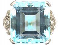 Retro 18ct White Gold, Aquamarine & Diamond Ring