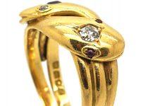 Edwardian 18ct Gold Double Snake Ring set a Ruby & a Diamond