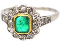 Art Deco Platinum & 18ct Gold, Emerald & Diamond Cluster Ring with Diamond Set Shoulders