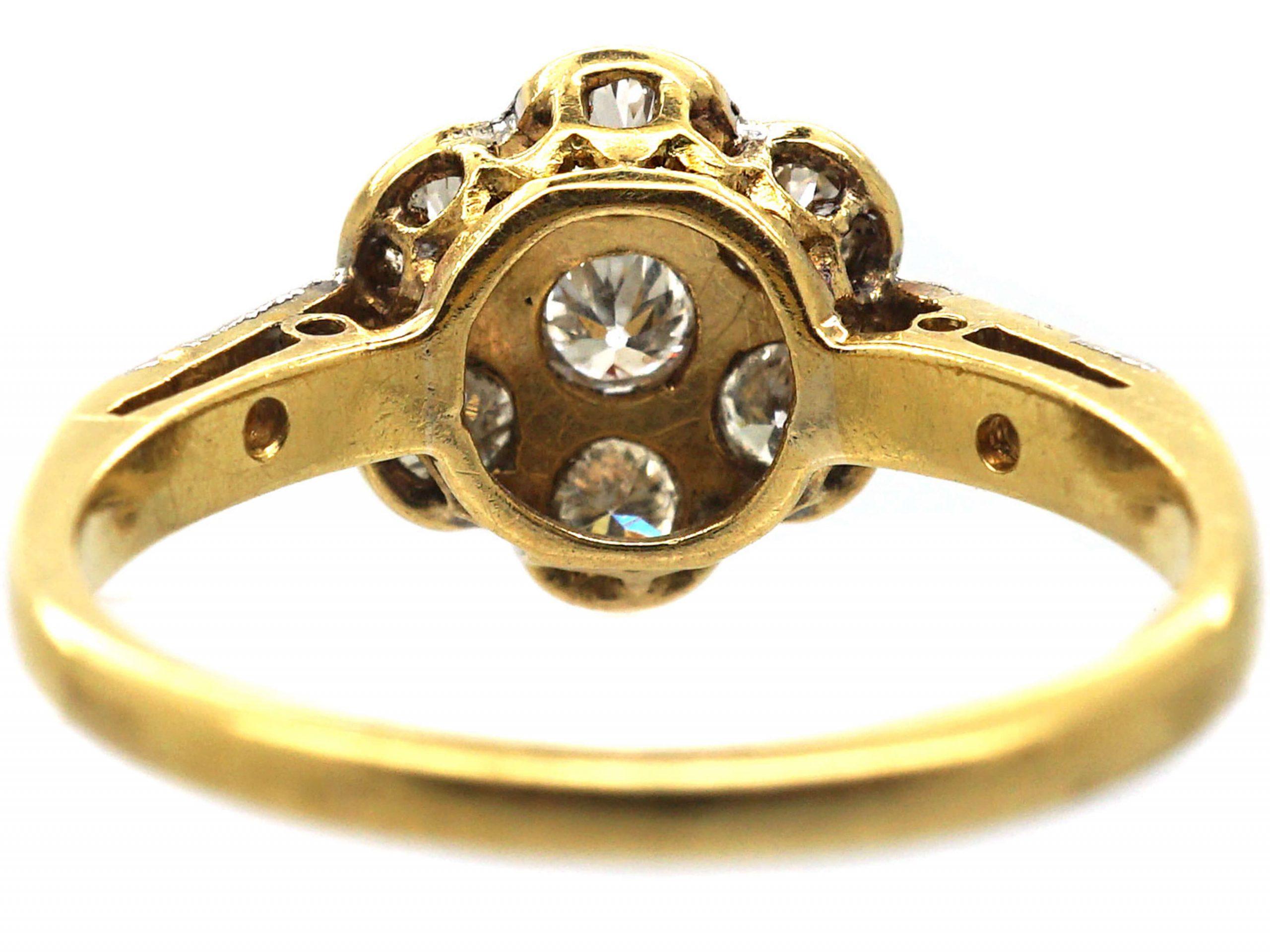 Edwardian 18ct Gold & Platinum, Diamond Cluster Ring with Diamond Set Shoulders