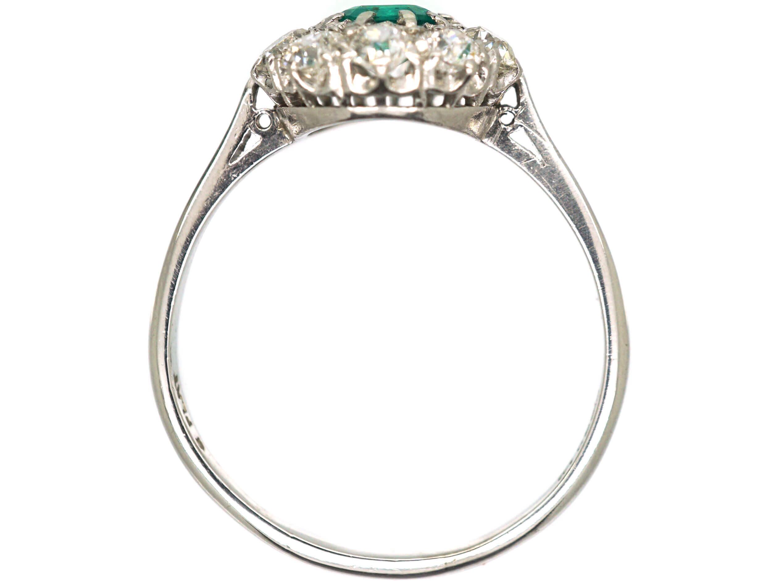 Platinum, Emerald & Diamond Cluster Ring