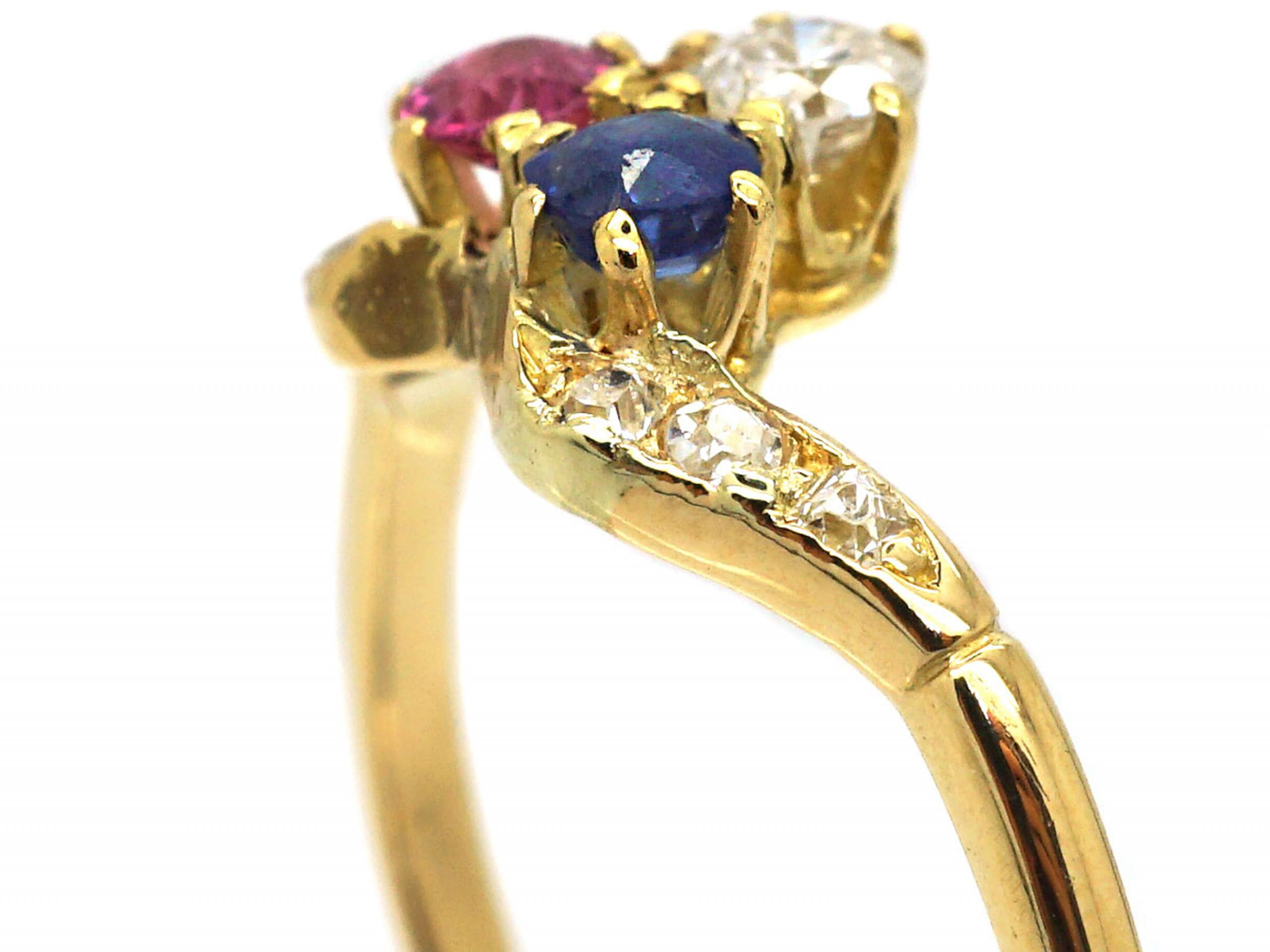 Art Nouveau 18ct Gold, Sapphire, Ruby & Diamond Ring with Diamond Set Shoulders