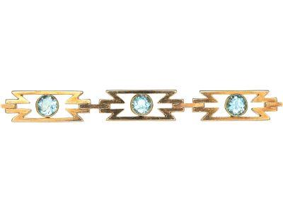 Art Deco 15ct Gold & Aquamarine Zig Zag Bracelet