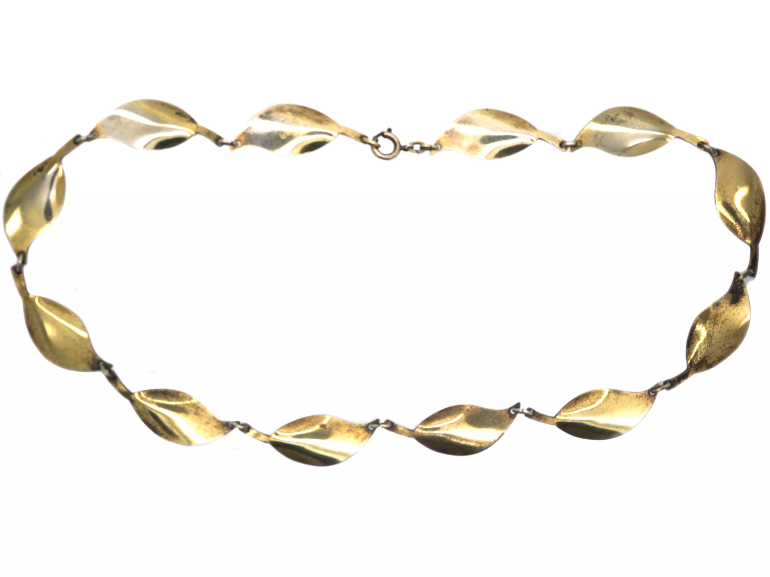 Silver Green Enamel Leaf Design Necklace by David Andersen