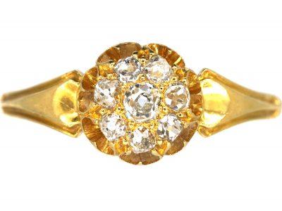 Edwardian 18ct Gold, Diamond Daisy Cluster Ring