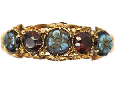 Regency 15ct Gold Ring set with Onyx & Garnets with Flower Detail