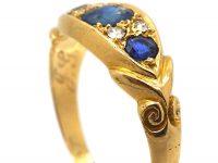 Edwardian 18ct Gold Sapphire & Diamond Three Stone Scroll Design Ring