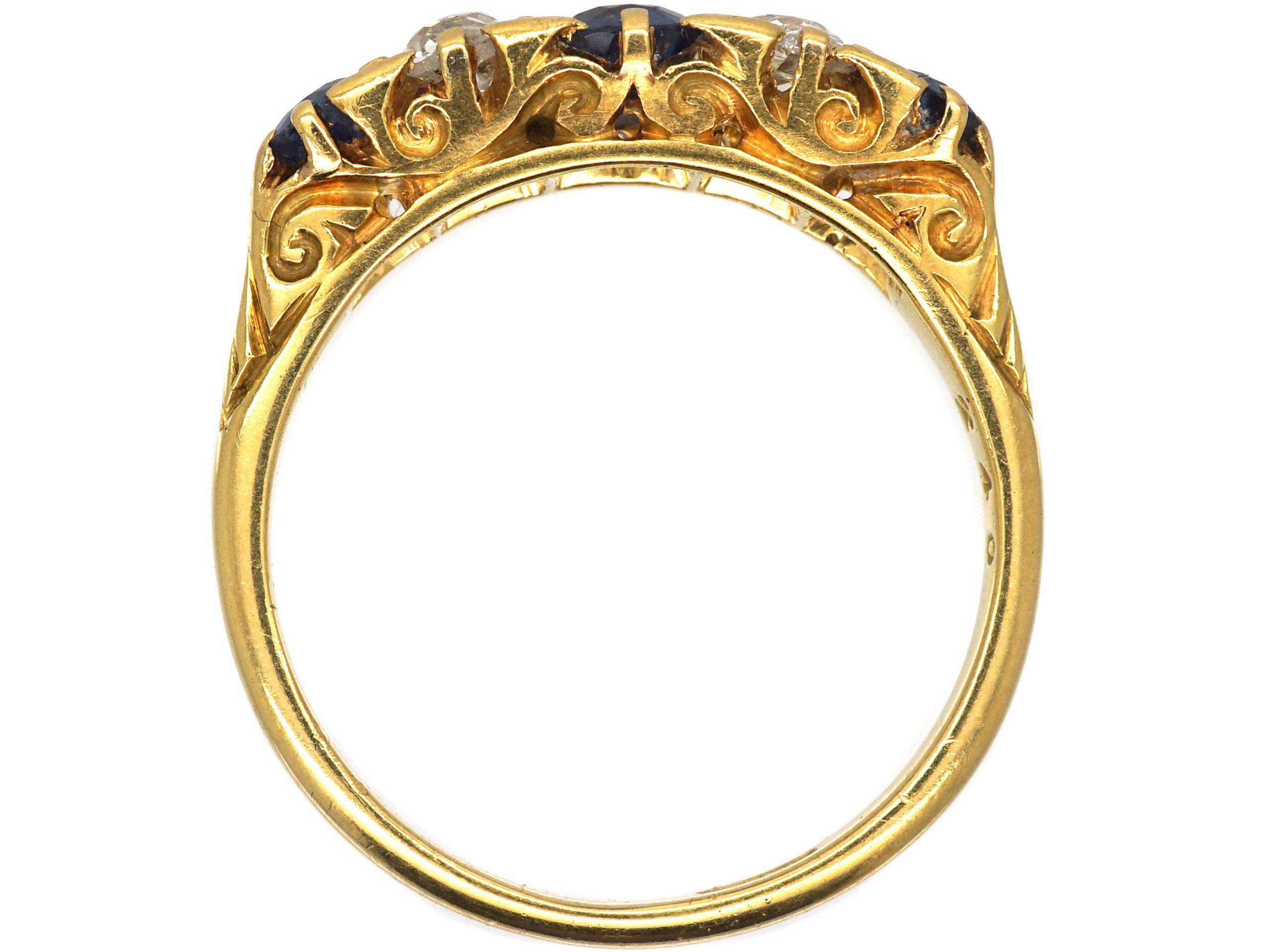 Edwardian 18ct Gold, Five Stone Sapphire & Diamond Carved Half Hoop Ring