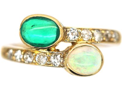 Edwardian 18ct Gold, Cabochon Emerald & Opal Crossover Ring With Diamonds Shoulders