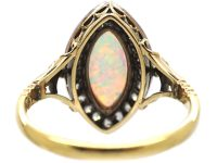Edwardian 18ct Gold, Opal & Diamond Navette Shaped Ring by Child & Child