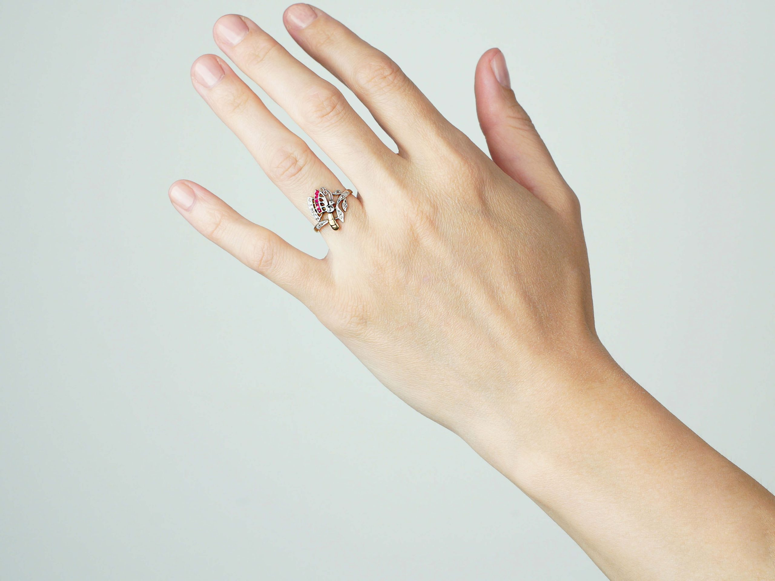 Art Nouveau 18ct Gold, Diamond & Ruby Butterfly Ring
