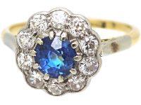 Edwardian 18ct Gold & Platinum, Diamond & Sapphire Cluster Ring