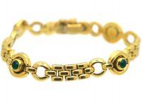 Portuguese 14ct Gold & Cabochon Emerald Bracelet With Circular Motifs