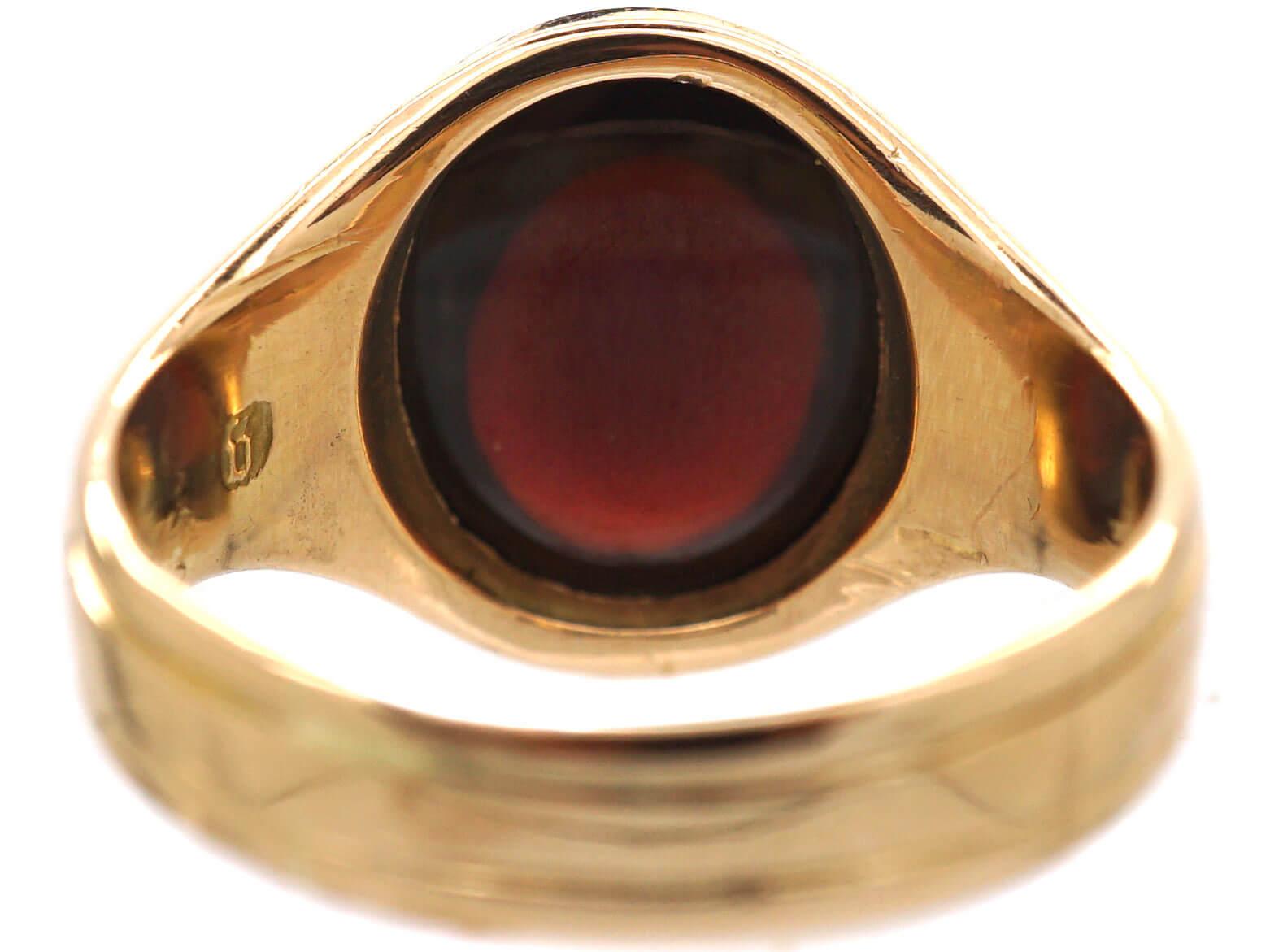 Victorian 15ct Gold & Cabochon Garnet Ring