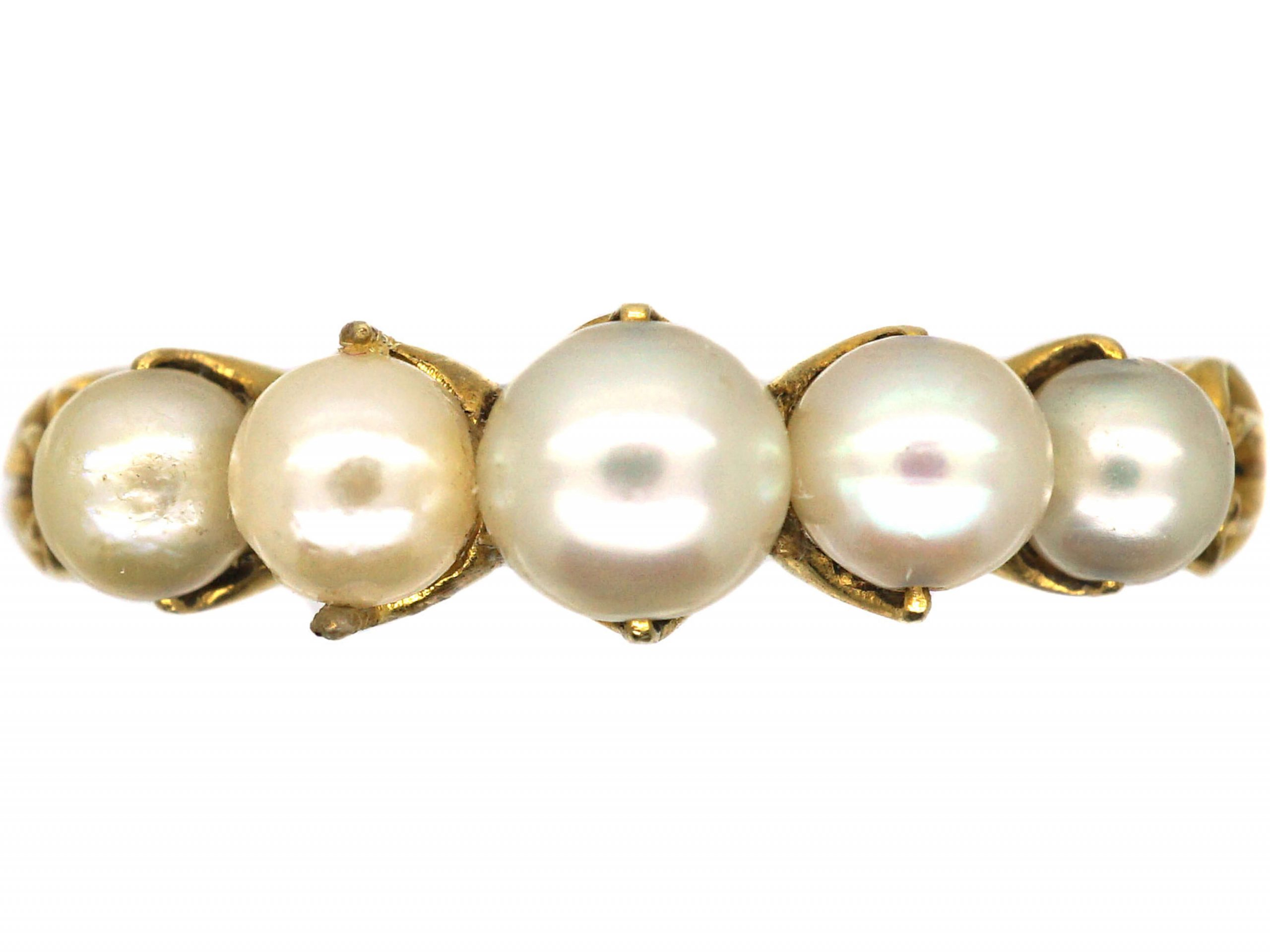Victorian 18ct Gold, Graduated Five Natural Pearl Ring
