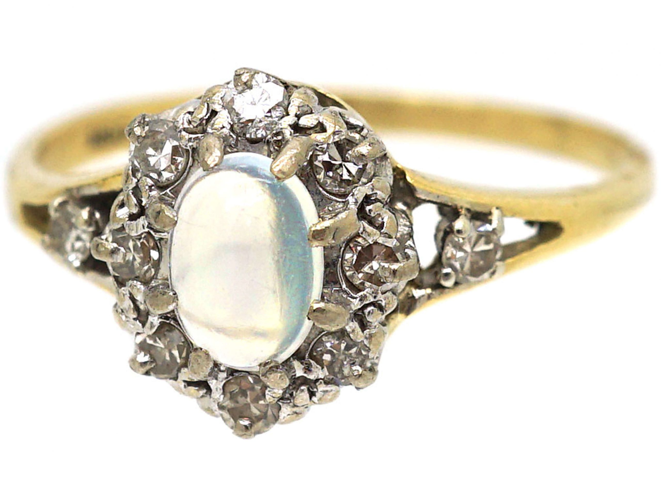 Edwardian 18ct Gold. Moonstone & Diamond Cluster Ring