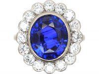 Platinum, Large Sapphire & Diamond Oval Cluster Ring