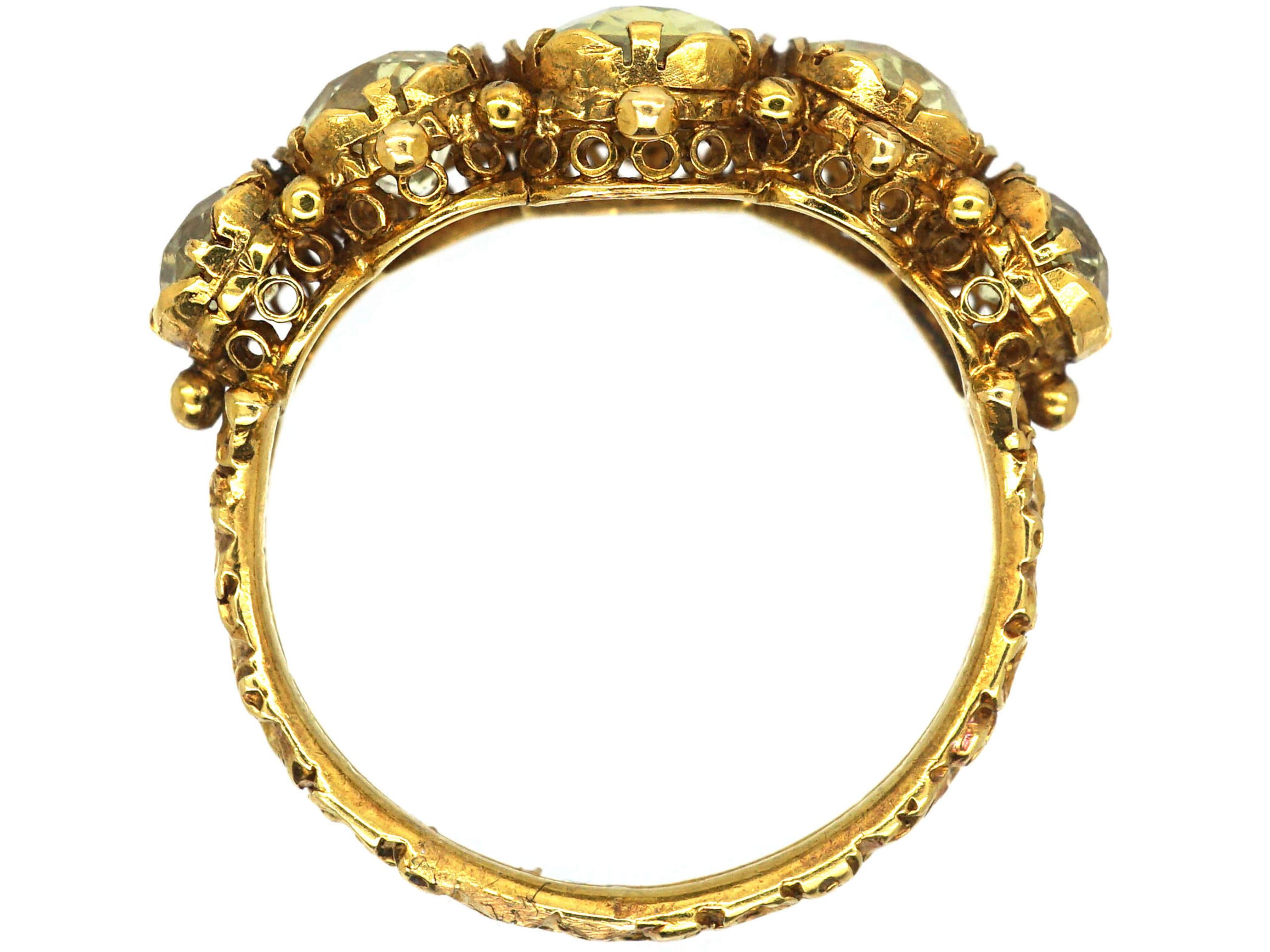 Regency 18ct Gold Ring set with Five Chrysolites