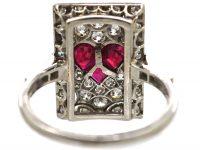 Art Deco Platinum, Diamond & Ruby Rectangular Shaped Ace of Hearts Ring