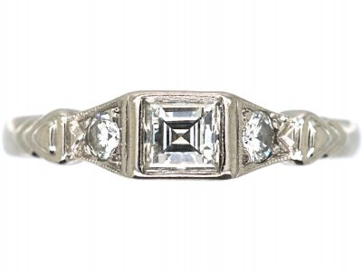 18ct White Gold Square Cut Diamond Ring with Diamond Set Shoulders