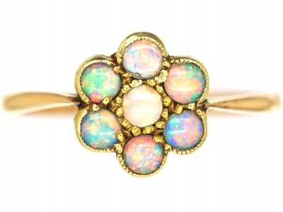 Edwardian 18ct Gold, Opal Cluster Ring