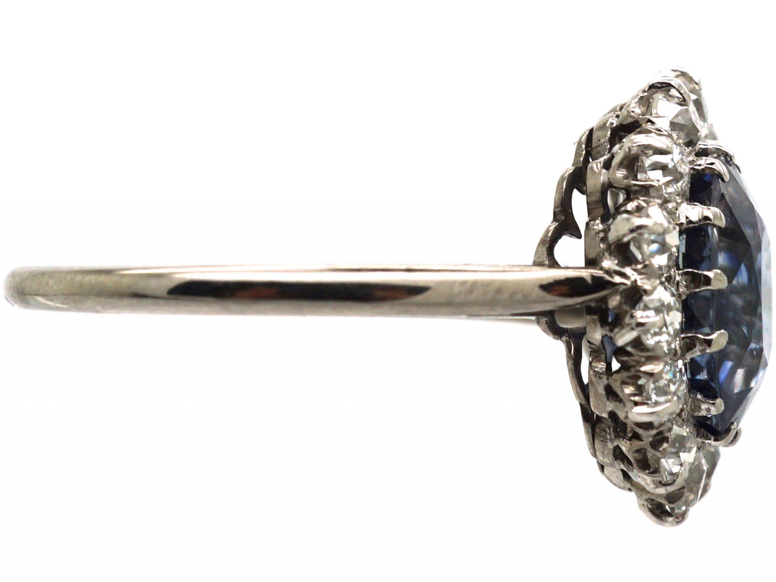 Art Deco Platinum, Sapphire & Diamond Oval Cluster Ring