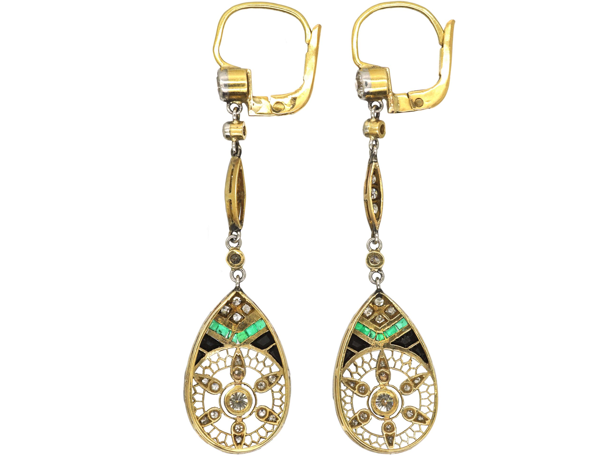 Art Deco 18ct Gold & Platinum, Emerald, Sapphire & Diamond Drop Earrings