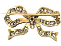 Victorian Ribbon Bow Brooch set with Graded Old Mine Cut & Rose Diamonds