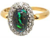 Edwardian 18ct Gold, Black Opal & Diamond Cluster Ring
