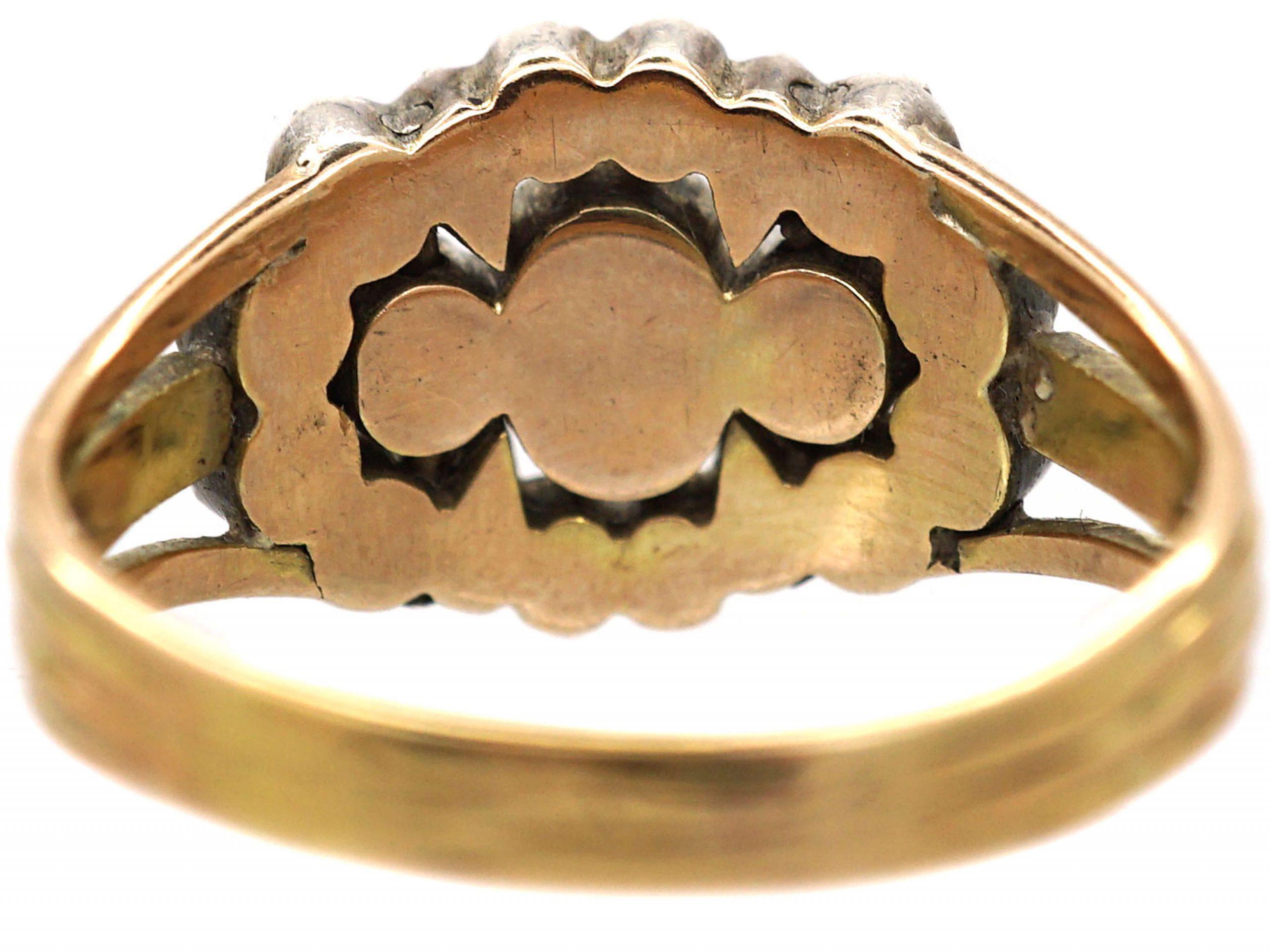 Georgian 15ct Gold Old  Mine Cut Triple Diamond Cluster Ring